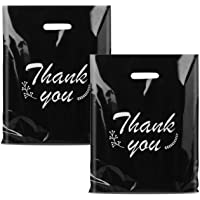 iPacky Plastic Thank You Bags for Business, Reusable Black Shopping Bags for Boutique, 12x15 Merchandise Bags for Retail…