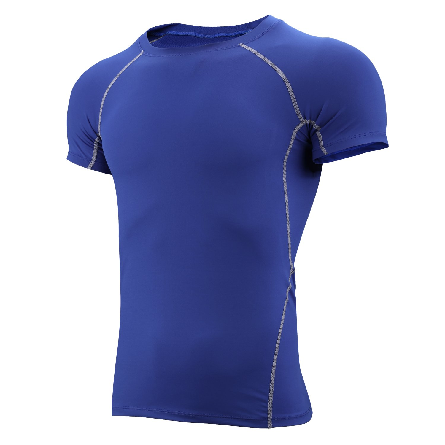 RoxZoom Men's Compression Top Base Layer T Shirts Short Quick Dry Compression Tees Fitness Gym Tops Athletic Tshirt