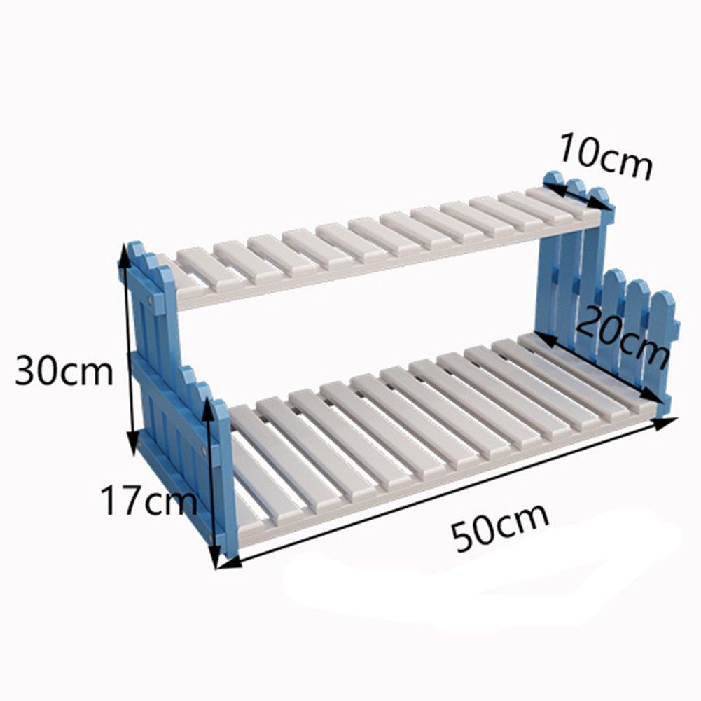 フラワースタンド 園芸 ラック フラワーポットスタンドプラントスタンドフラワーラックスタンドフラワーポットディスプレイスタンドナ竹テーブルフラワーオフィスシルルマルチレイヤー収納ラックソリッドウッドポットラック(竹/白/青と白、様々なサイズがあります) ZHANGQIANG (色 : Blue and white -50cm) B07DW3R4ZW Blue and white -50cm Blue and white 50cm