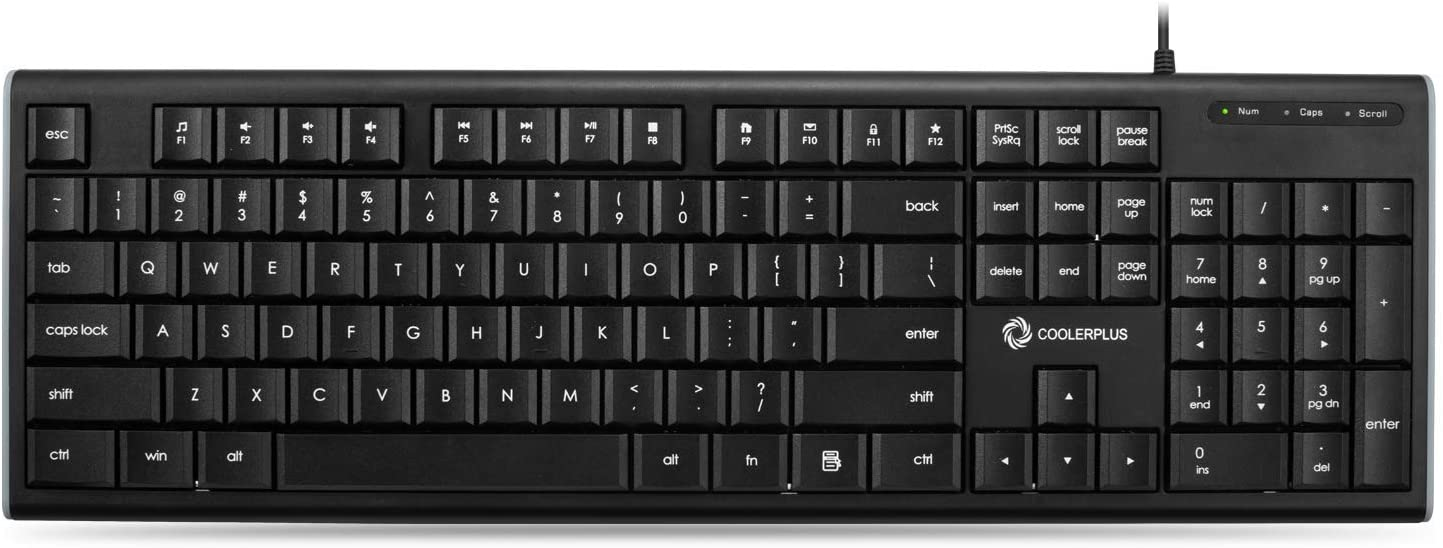 Coolerplus USB Wired Keyboard Ultra-Thin, Full Size US Layout Computer Keyboard with Low Profile Keys, Compatible with Windows Mac/Laptop/Desktop/PC