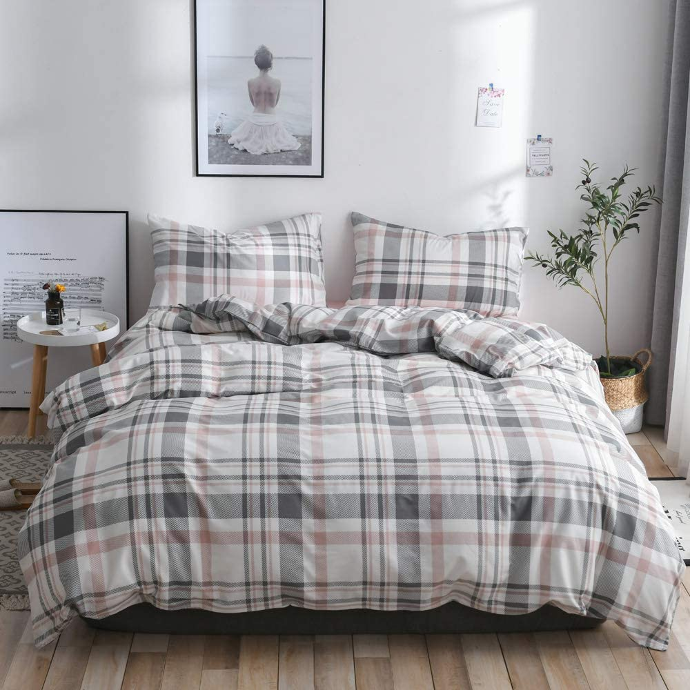 【Latest Arrival】 Twin Duvet Cover für Kids Plaid Duvet Cover Twin Cotton Geometric Comforter Cover 3 Pieces Bedding Satz mit Ties für Kids Adults Teens, nicht Comforter nicht Sheet