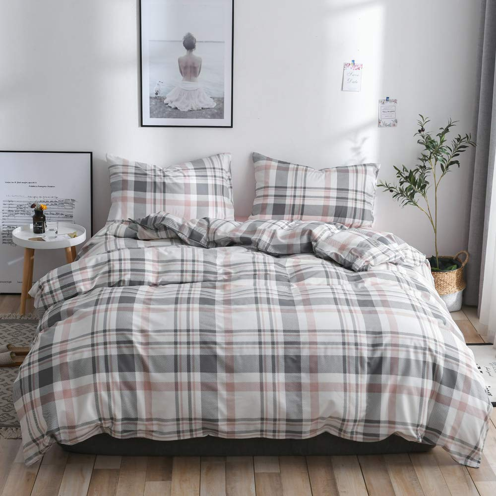 【Latest Arrival】Plaid Duvet Cover Queen Cotton Geometric Duvet Cover Full Checker Comforter Cover Modern Duvet Cover Home Bedding Collections 3 Pieces with Zipper Closure,NO Comforter NO Sheet