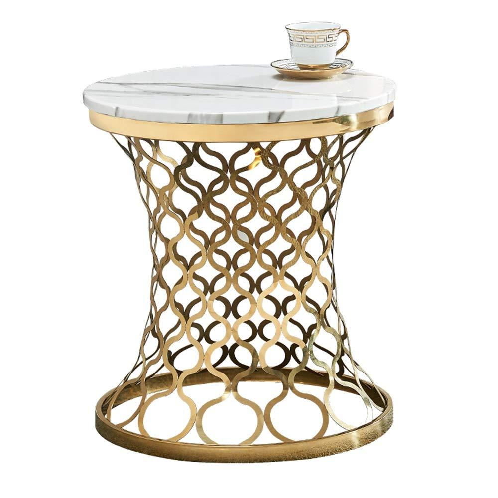 ステンレス鋼のコーヒーテーブル、大理石のサイドテーブル、リビングルームの寝室のバルコニー装飾された小さなコーヒーテーブル、ウエストデザイン、丸型(50×50×60cm) B07RKRSNXY