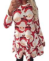 Womens Christmas Mini Dresses Xmas Santa Snowman Printed Party Flared Swing Dress Top
