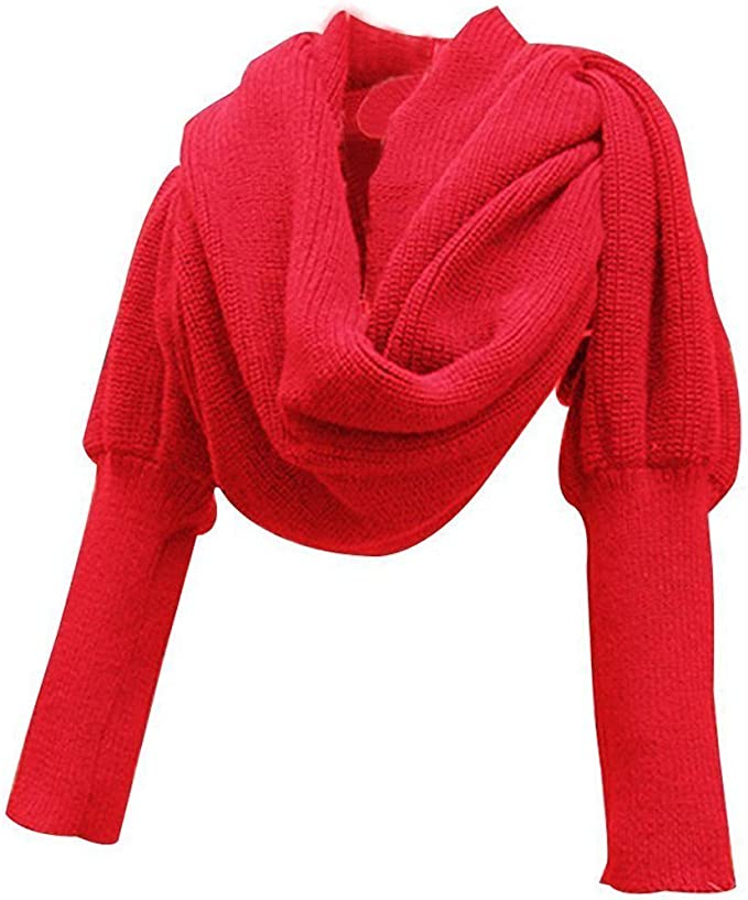 Amazon.com: EUBUY Fashion Winter Warm Solid Color Knitted Wrap Scarf Crochet Thick Shawl Cape with Sleeve for Women and Men Red: Clothing