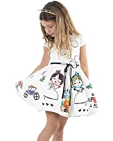 Hatop 2016 Girls Clothes Cute White Cartoon Dress For The Girl Princess Dress