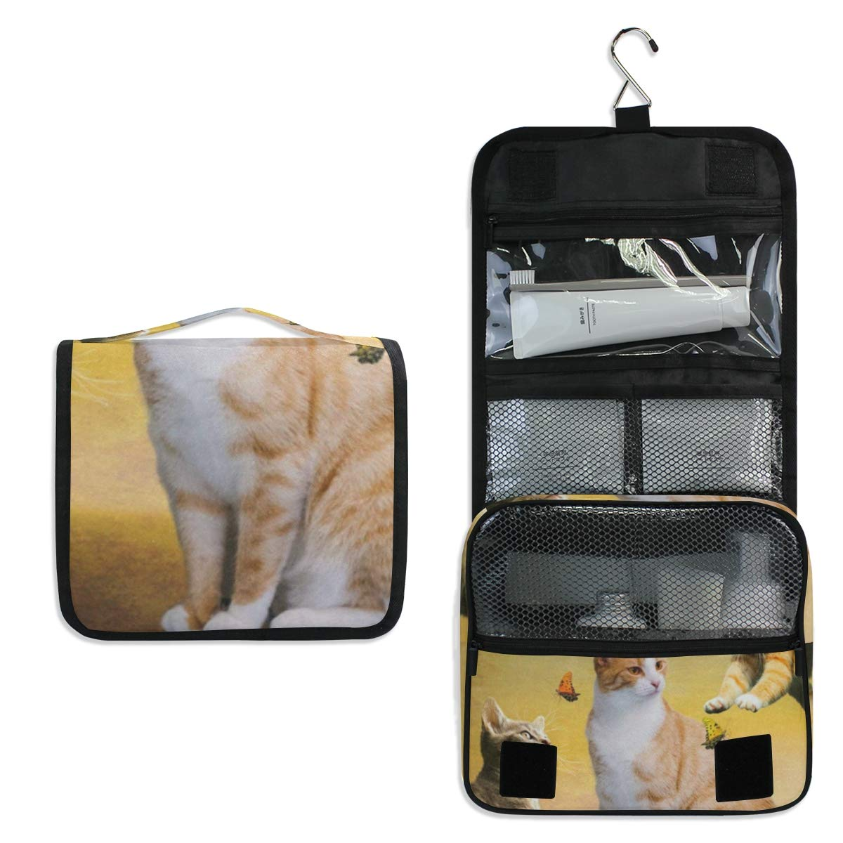 Cat Dog Hanging Travel Toiletry Bag for Women Men | Hygiene Bag | Bathroom and Shower Organizer for Toiletries, Cosmetics, Makeup, Brushes