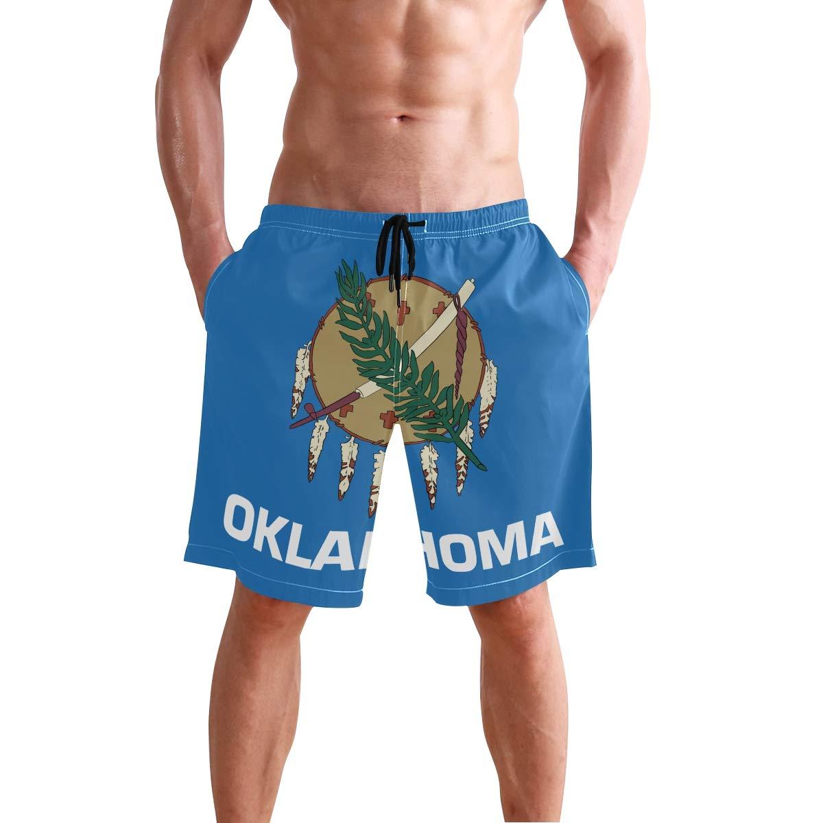 DongDongQiang Men Summer Oklahoma State Flag Quick Dry Volleyball Beach Shorts Board Shorts