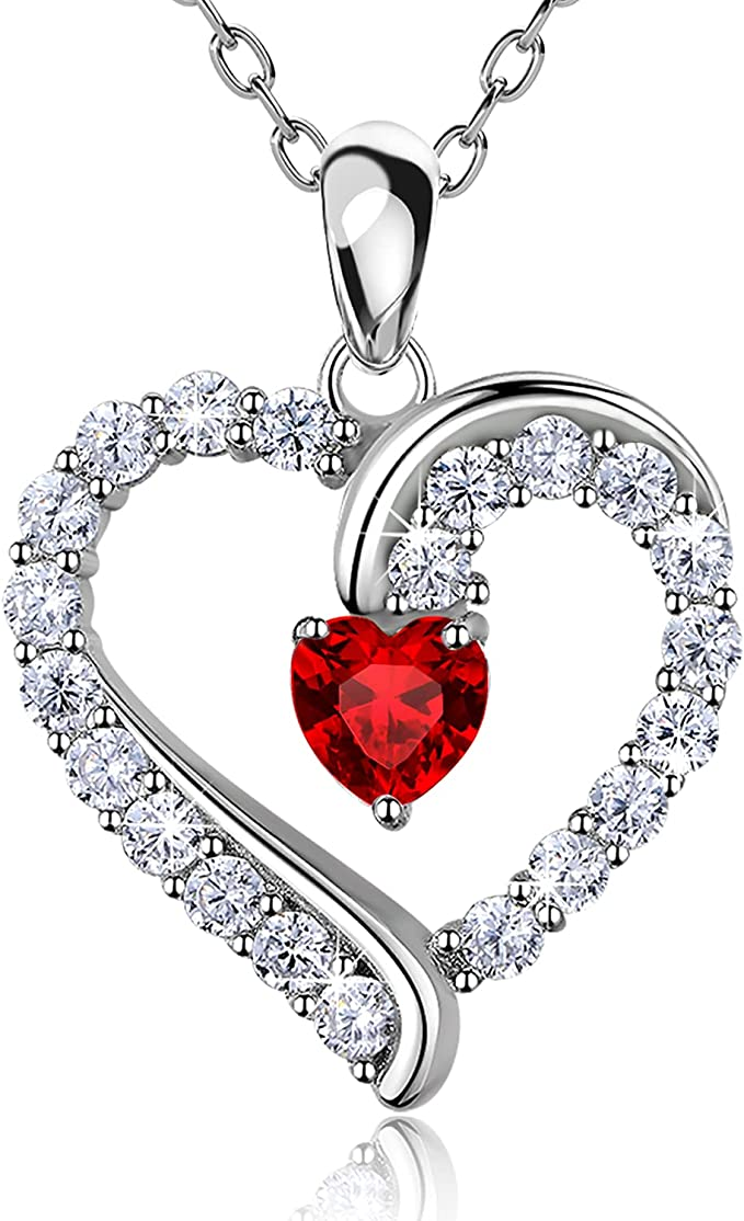 NEW Necklace /& Ring Set 925 Sterling Silver Love White Heart Women Jewelry Band