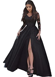 Promworld Womens Lace Appliques Party Evening Gowns With Slit Long Sleeve Prom Dresses