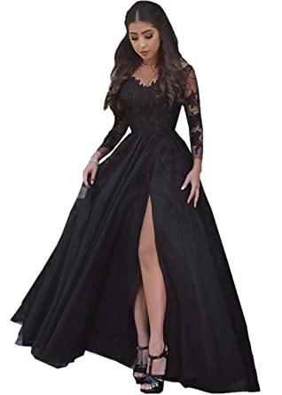 Promworld Womens Lace Appliques Party Evening Gowns With Slit Long Sleeve Prom Dresses Black US2