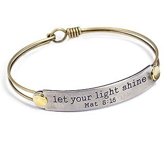 Sweet Romance Let Your Light Shine (Mat 5:16) Engraved Bible Verse Inspirational Faith Religious Bar Bangle Bracelet
