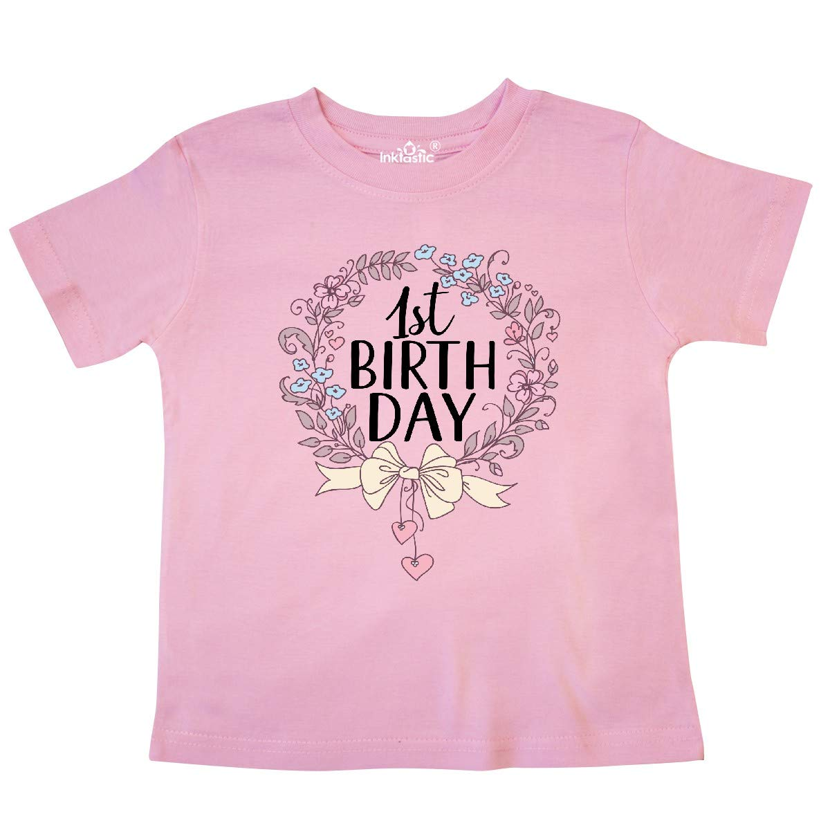 inktastic 1st Birthday Floral Wreath 1 Year Old Toddler T-Shirt