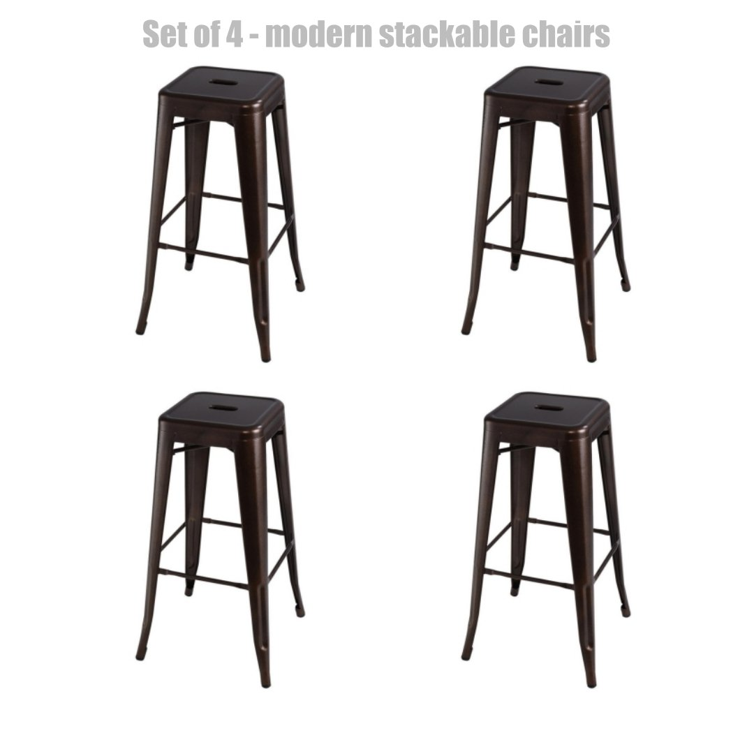 Retro Classic Style School Office Kitchen Dining Room Chair Stackable Backless Metal Frame Stable Seats Indoor/Outdoor Bar Stools 30''H - Set of 4 - Modern Bronze #1072 by Koonlert@shop