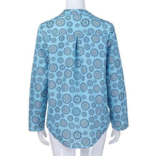 Maglietta Bottone Taglia Top giacca Chiffon Manica Accostare Pois Donna Brillante Grossa Da Stampare Riou Lunga A Blu Abbigliamento xPqOIR5R