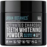 UrbanBotanics® Activated Charcoal Teeth Whitening Powder - Enamel Safe Teeth Whitener - Suitable for Sensitive teeth - 100g (Mint Flavor)