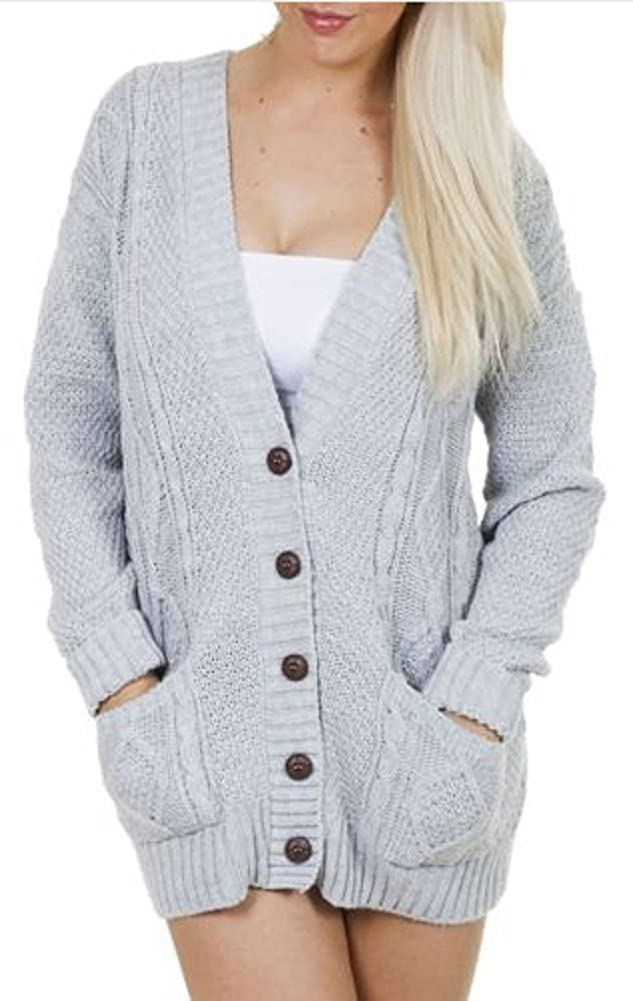 OgLuxe Womens Ladies Long Sleeve Pocket Cable Knit Chunky Cardigan Size 6-24