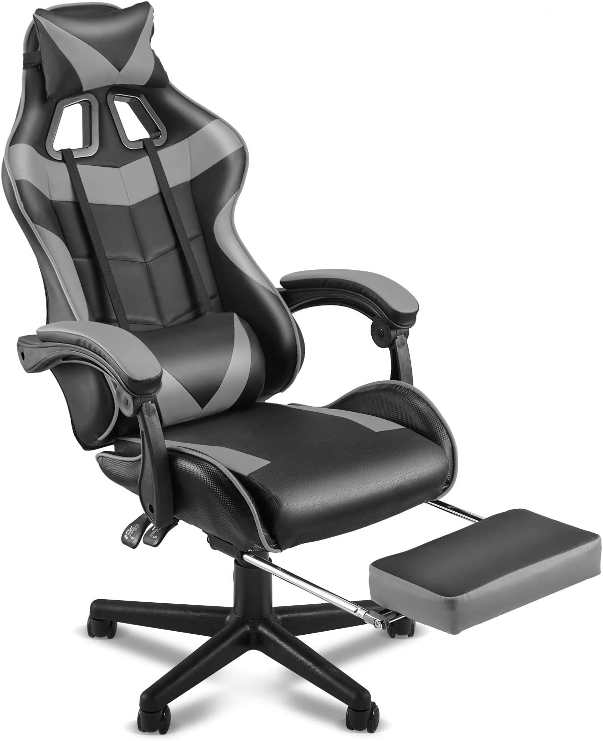 Amazon Com Soontrans Ergonomic Gaming Chair Office Computer Game Chair E Sports Chair Gaming Chair Racing Style With Adjustable Recliner Headrest Lumbar Pillow And Retractable Footrest Galaxy Grey Kitchen Dining