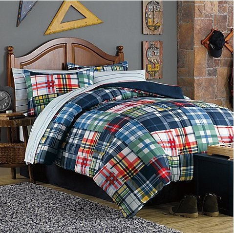 Curtain Plaid Bed (6pc Boy Blue Red White Yellow Plaid Twin Bed in a Bag)