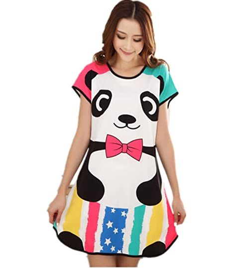 Summer Sexy Women Cartoon Cotton Night Skirt Pajamas Sleeping Dress ... 224f4d445