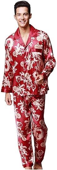 Herren Pyjama Sets Langarm Kragen Anzug + Hosen Mode Frau