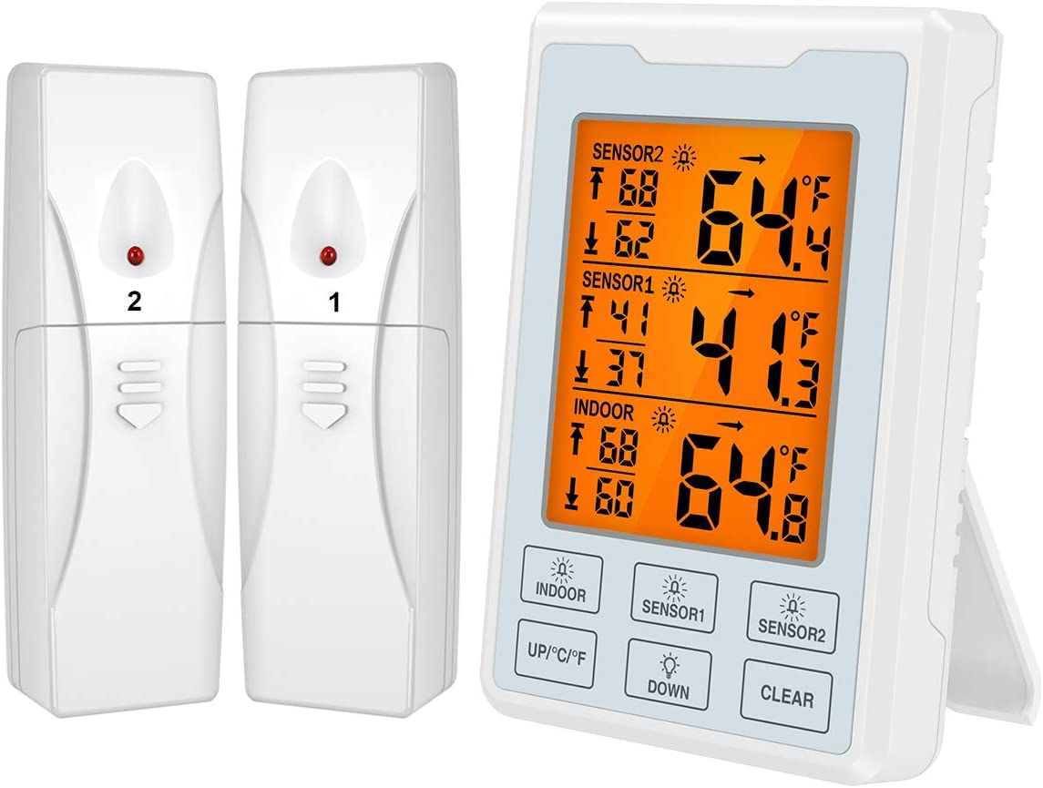 [Upgraded] KeeKit Refrigerator Thermometer, Digital Freezer Thermometer with 2 Sensors, Wireless Indoor Outdoor Thermometer with Audible Alarm, Touch LCD Backlight, Min/Max Record for Home,Restaurants