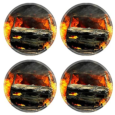 Luxlady Round Coasters Delivery type vehicle on side of road burning with large flames and smoke Car IMAGE 30781721 Customized Art Home (Exploding Smoke Bombs)