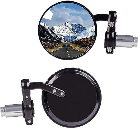 Argento Specchietti retrovisori manubrio 7//8 specchietti laterali arrotondati regolabili da 3 Keenso