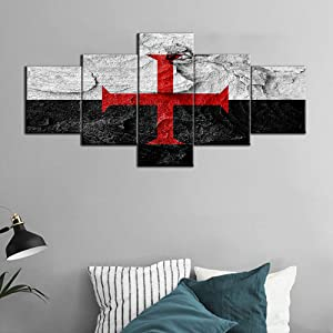 Templar Knight Flag Canvas Prints Wall Art Black and White Picture Red Cross Religion Paintings Artwork Modern House Decor for Living Room Bedroom 5 Piece Wooden Framed Ready to Hang (50''W x 24''H)