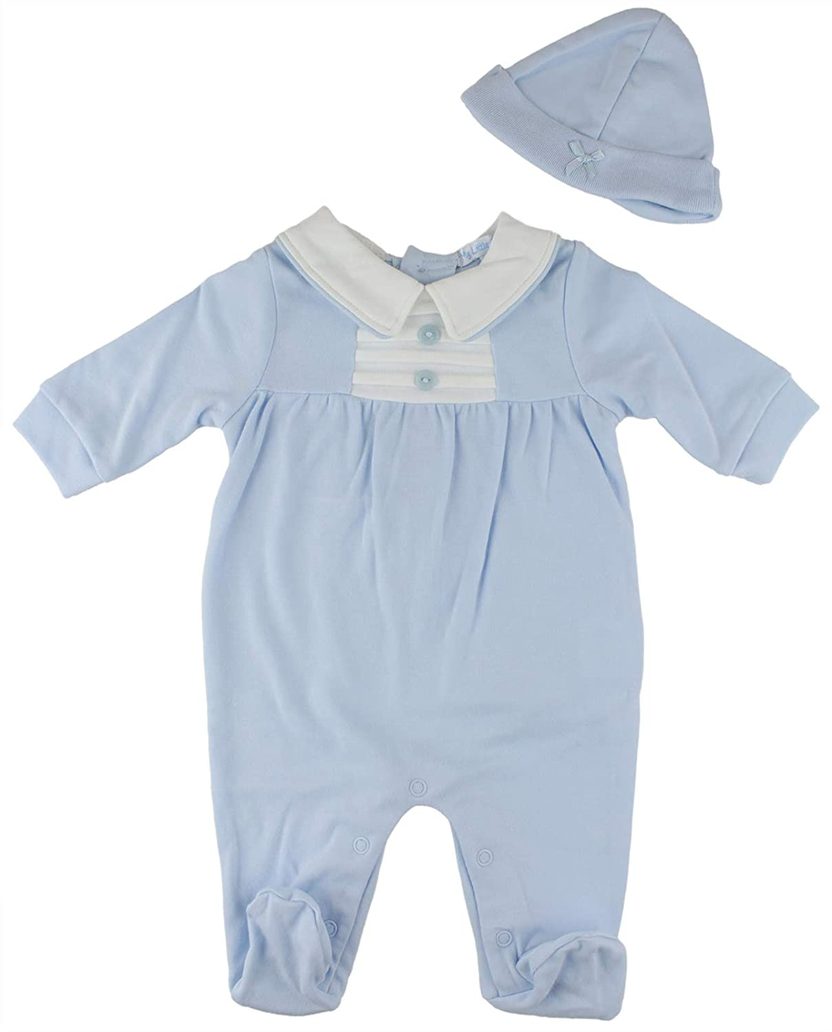 My Little Chick Newborn Baby Boys Spanish Style Blue Babygrow Sleepsuit Romper & Hat Outfit