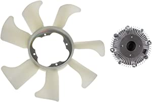 Set of 2 Engine Radiator Cooling Fan Blade and Clutch Kit for Nissan D21 1990-1994 Frontier 1998-2004 Pickup 1995-2004 I4 2.4L