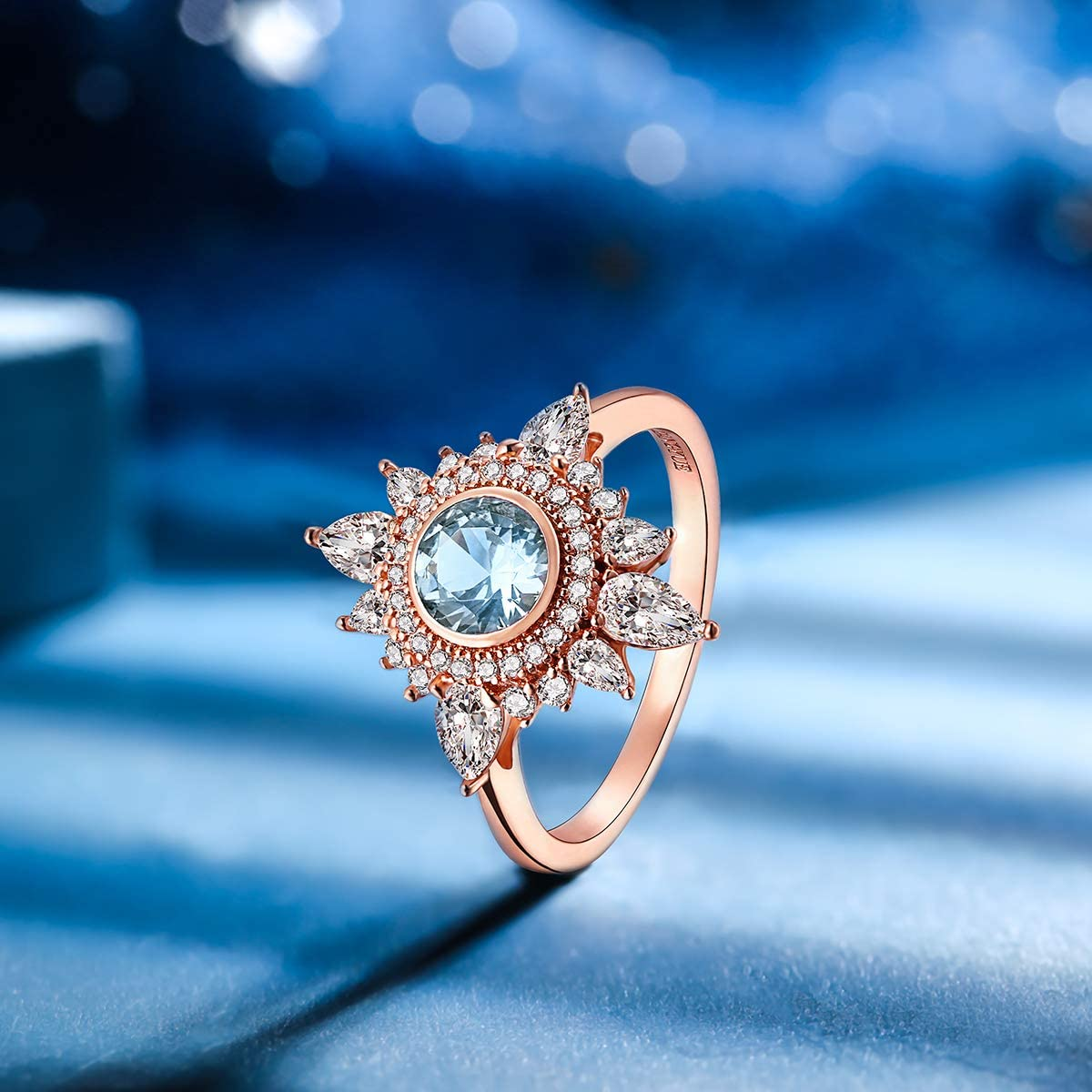 Rose Blue Spinel Flower Ring Dainty Girlfriend Silver Delicate Petite Bridal Wedding Engagement Size 4 5 6 7 8 Promise Birthday Gift R282