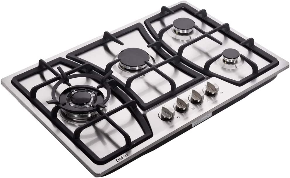 Deli-kit DK247-A01 30 inch LPG/NG gas cooktop stovetop 4 burners Dual Fuel 4 Sealed Burners brass burner Stainless Steel 110V AC pulse ignition with cast iron support