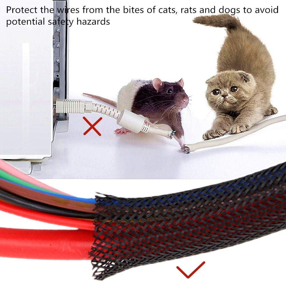 Protect cat Dog Pets from Chewing Cords Black Braided Cable Split Sleeving 25ft 3//8Cord Protector Wire Cable Sleeve Split Sleeving for USB Charging Cable Power Cord Audio Video Cable