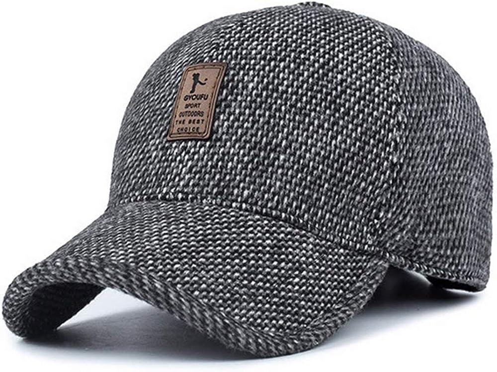 WETOO Gorra de Béisbol de Lana de Invierno para Hombre Orejeras Plegables cálidos Sombreros de Hombre a Prueba de Viento de Calidad