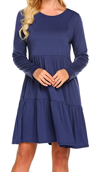 fef3e251e8c Newchoice Women's 3/4 Sleeve Empire Waist Loose Swing Ruffle T-Shirt Dress  Pleated