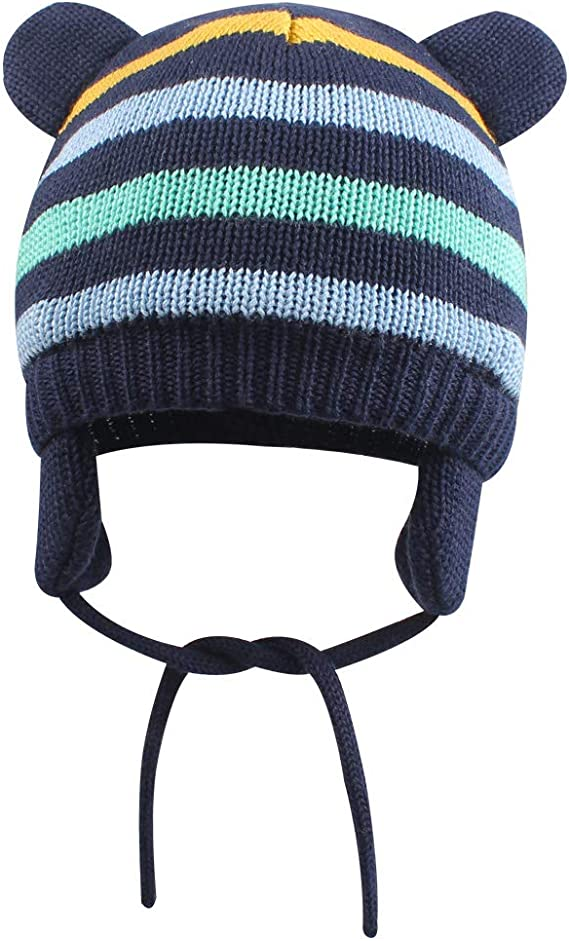 YOVONA Infant Baby Boys Girls Winter Hat with Earflaps Toddler Kids Pompom Knit Beanie Cap with Warm Fleece Lining for 0-3T