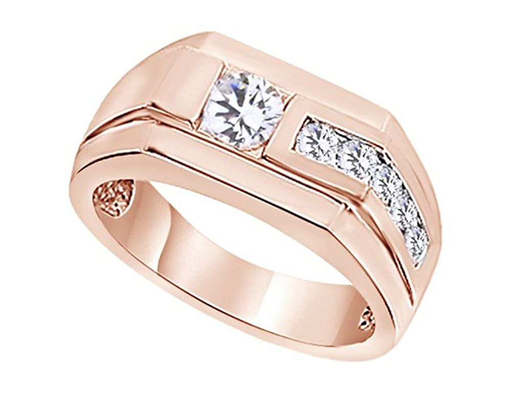 Wishrocks Round Cut White Cubic Zirconia Hip Hop Mens Wedding Band Ring in 14K Gold Over Sterling Silver