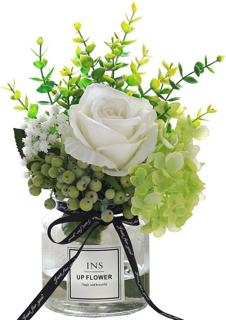 Artificial Flowers in vase,Artificial Plants & Flowers Faux White Rose Bouquet Flower Arrangements, for Office Home Deco for Decor Indoor (Green)
