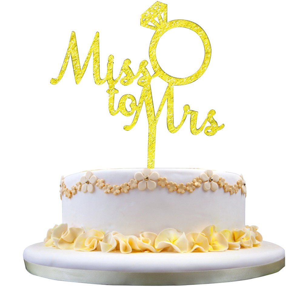 Amazon.com: GrantParty Gold Miss to Mrs Cake Topper - Wedding ...