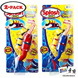 7' Large Splash Fun Wind Up Scuba Diver (2 Pack) Bathtub Pool Swimmer Toy Floats and Swims in Water with 2 GosuToys Stickers