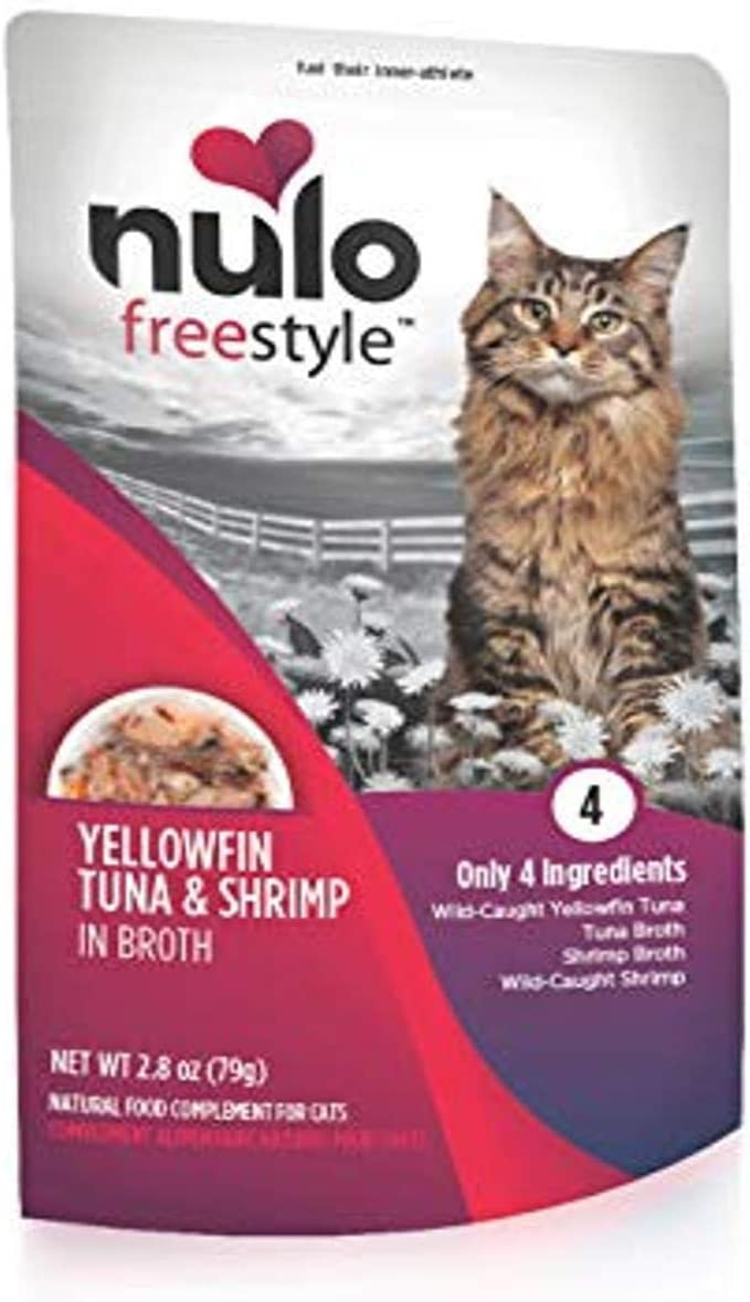 Nulo Freestyle Wet Cat Food, Tuna & Shrimp in Broth, 2.8 oz Pouches, Case of 24 - Natural, Grain-Free Cat Food with High Protein, Amino Acids for Heart Health - Premium Kitten, Senior Soft Food, Red