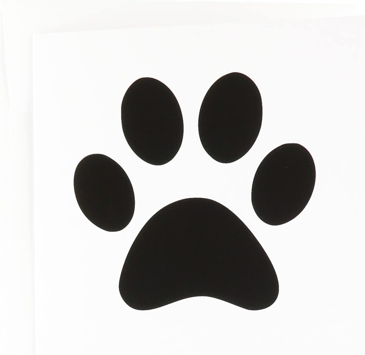amazon.com : black paw print on white - cartoon animal foot print -  greeting cards, 6 x 6 inches, set of 12 (gc_161514_2) : office products  amazon.com