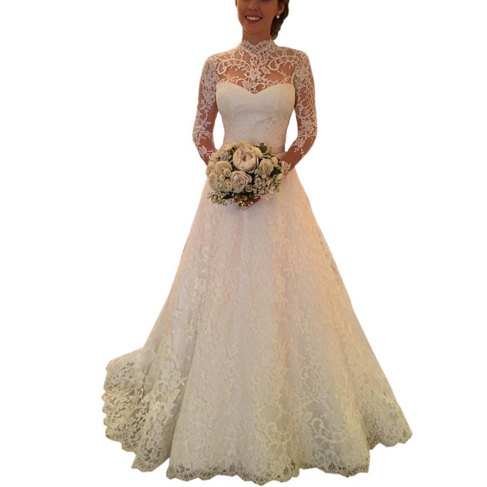 Ike Chimbandi High Neck Full Lace Wedding Dresses With Long Sleeve