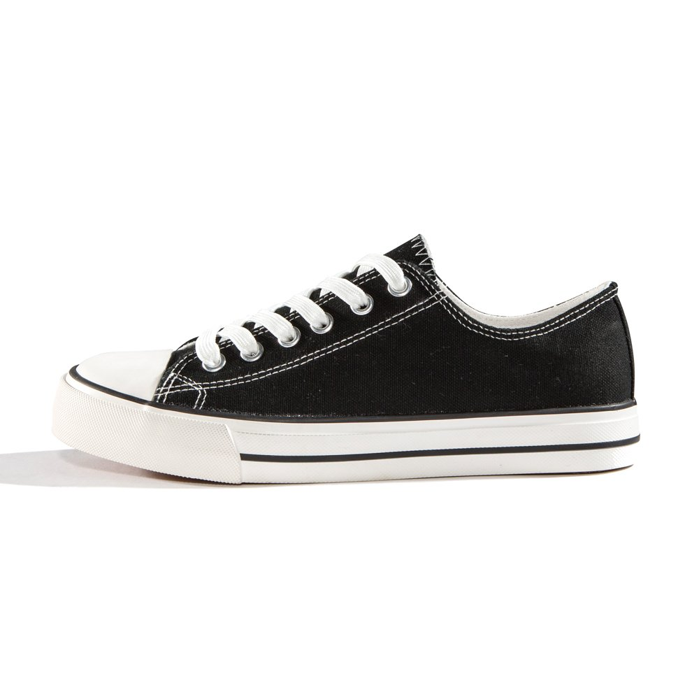 ZGR Canvas Sneaker Low Cut Season Lace Ups Shoes Casual Trainers for Women and Teenager Black US9 by ZGR (Image #2)