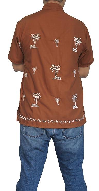 LA LEELA Shirt Camisa Hawaiana Hombre XS - 5XL Manga Corta Delante de Bolsillo Impresión Hawaiana Casual Regular Fit Camisa de Hawaii Mustard: Amazon.es: ...