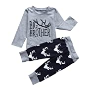 GRNSHTS Baby Boys 2 Style Deer Print Pants Set Twins Brother Suit (120/2-3 Years, Big Brother)