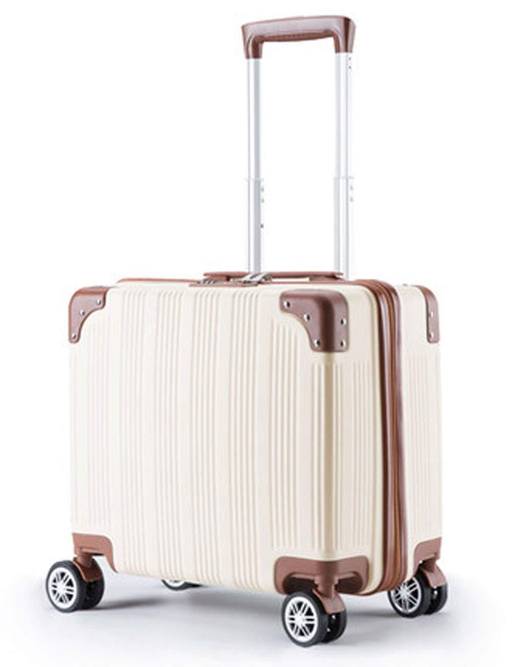 超小型ABSハードシェル搭乗荷物、静かな回転ホイールデザイン、18インチのシャーシにプルロッド (色 : 白)   B07GLPJZNM