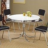 Coaster Retro Contemporary White and Chrome Dining Table