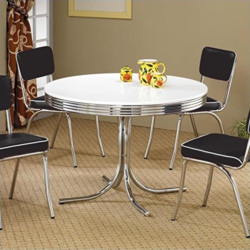 Coaster Retro Round Dining Kitchen Table in Chrome / White (Dinette Retro Sets)
